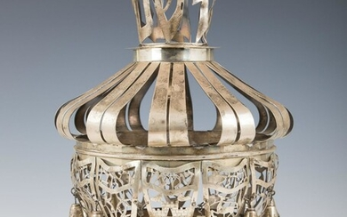 A LARGE STERLING SILVER HAND WROUGHT TORAH CROWN.