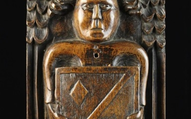 A Late 16th/Early 17th Century Relief Carved Oak Boss/Panel emblazoned with a angel with outswept ha