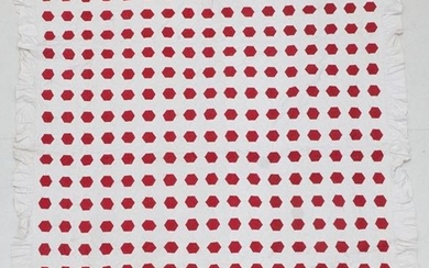 A Late 19th Century Turkey Red and White Cotton Hexagonal...