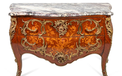 A Louis XV Style Gilt-Bronze-Mounted Marquetry Bombe Commode