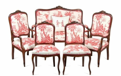 A Louis XV Style Walnut Five-Piece Seating Suite Height