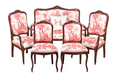 A Louis XV Style Walnut Five-Piece Seating Suite