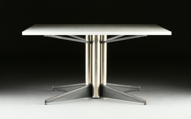 A MID CENTURY MODERN WHITE LAMINATE AND CHROMED STEEL