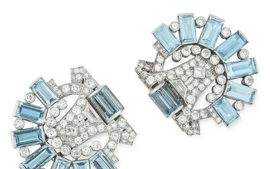 A PAIR OF AQUAMARINE AND DIAMOND CLIP BROOCHES, CARTIER