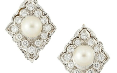 A PAIR OF CULTURED PEARL AND DIAMOND CLIP EARRINGS