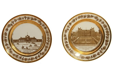 A PAIR OF FRENCH GILT PORCELAIN PLATES, 19TH C.