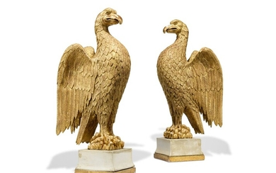 A PAIR OF GILTWOOD EAGLES, EARLY 20TH CENTURY