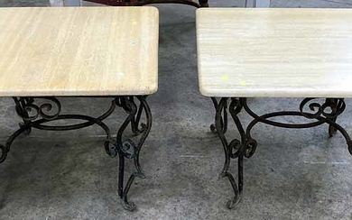 A PAIR OF METAL BASED MARBLE TOP LAMP TABLES