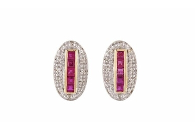 A PAIR OF RUBY AND DIAMOND CLUSTER EARRINGS, of oval form, m...