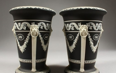 A PAIR OF WEDGWOOD BLACK AND WHITE JASPER WARE VASES