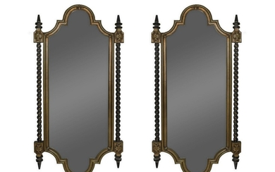 A Pair of Italian Style Parcel Gilt and Ebonized Mirrors