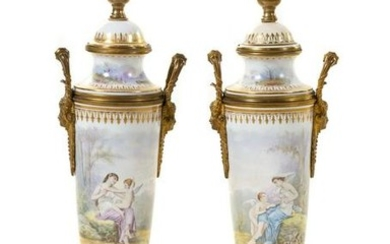 A Pair of Sevres Style Porcelain Urns