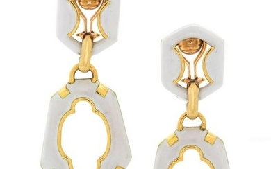A Pair of Yellow Gold and Enamel Earclips,