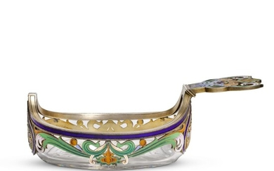 A RARE AND UNUSUAL FABERGÉ SILVER-GILT GLASS AND ENAMEL KOVSH, MOSCOW, 1899-1908