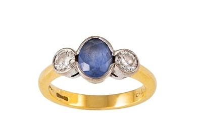 A SAPPHIRE AND DIAMOND THREE STONE RING, the oval sapphire a...