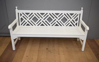 A TEAK GARDEN BENCH SEAT IN TWO PAK FINISH (98H x 181W x 67D CM) (LEONARD JOEL DELIVERY SIZE: LARGE)