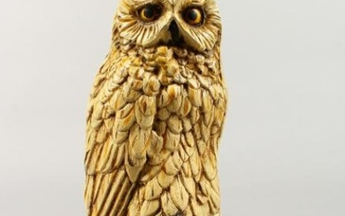 A VERY GOOD AUSTRIAN COLD CAST PAINTED OWL standing on