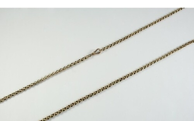 A VICTORIAN 9CT GOLD MUFF CHAIN formed with hammered circula...