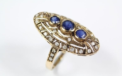 A Victorian sapphire and diamond ring, size , approx...