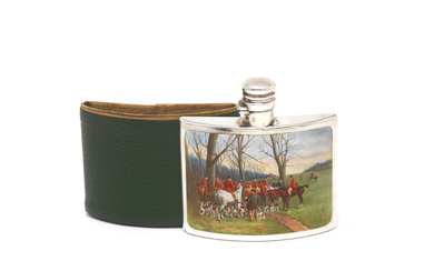 A Victorian silver and enamel spirit flask