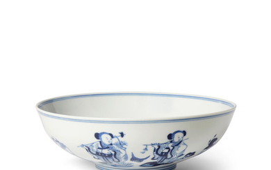 A blue and white 'Eight Immortals' bowl