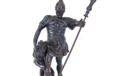 A bronze figure of a warrior and a lion, height 40cm