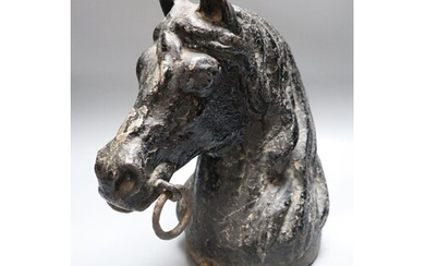 A cast iron horse tethering post, c.1900, height 28cm, of ho...