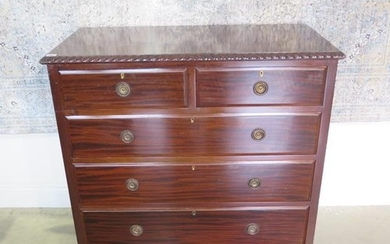 A circa 1900s mahogany two over three chest of drawers on br...