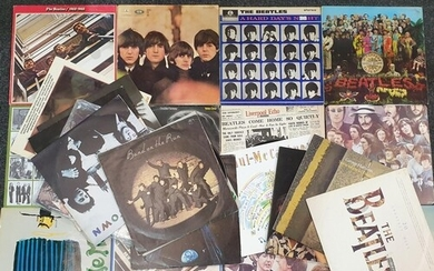 A collection of Beatles LPs to include Hard Day's Night, PCS...