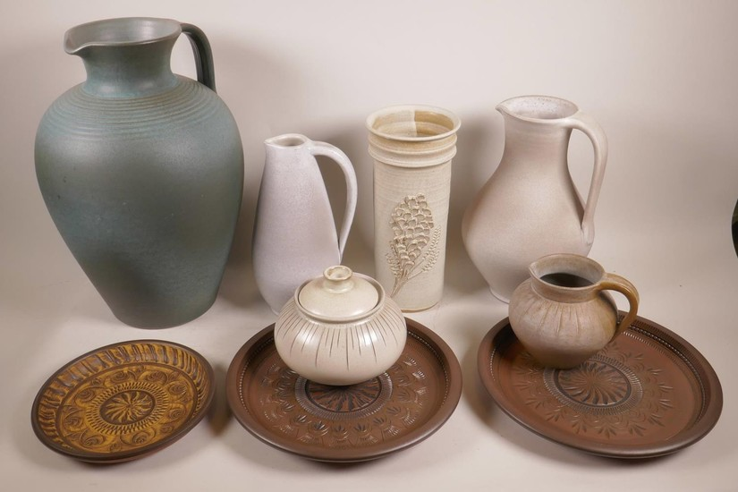 A collection of German 1970s Brockmann studio pottery includ...