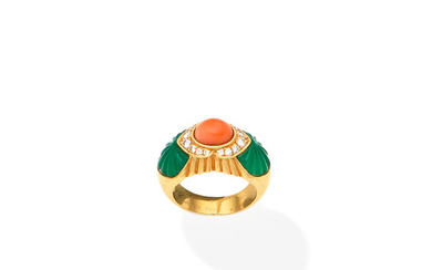 A coral, chrysoprase and diamond ring
