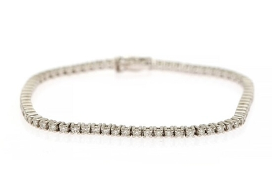 A diamond bracelet set with numerous brilliant-cut diamonds weighing a total of app. 2.03 ct., mounted in 18k white gold. L. 18 cm.