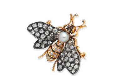 A diamond, cultured pearl and ruby bee brooch