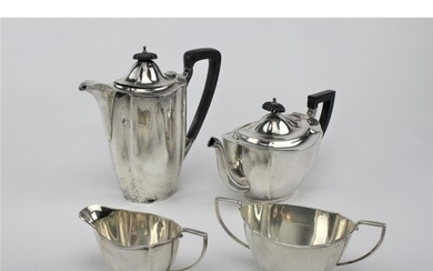 A four piece silver fluted pattern tea set, makers mark BB &...