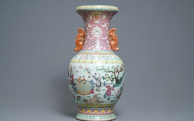 A large Chinese famille rose vase, 19th C....