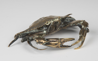 A late 19th century polished cast bronze model of a crab, possibly Japanese, width 15cm (some faults
