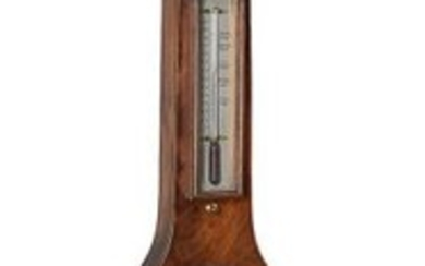 A mahogany and inlaid mercury wheel barometer
