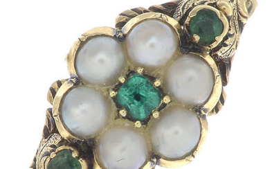 A mid 19th century gold split pearl and vari-cut emerald ring.