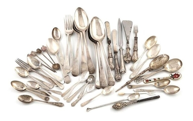 A mixed lot of silver flatware, various dates...