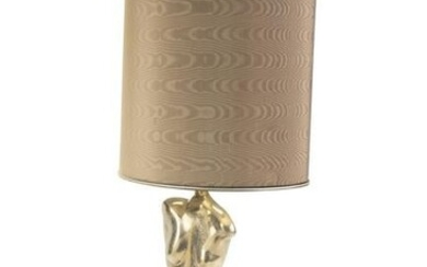 A modern brass figural lamp and shade