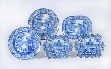 A pair of Rogers blue and white printed pearlware square dessert dishes printed with 'Boston State House' pattern