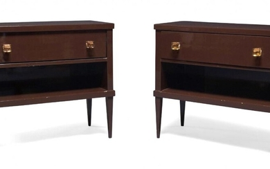 A pair of modern aubergine lacquered side cabinets, late 20th...