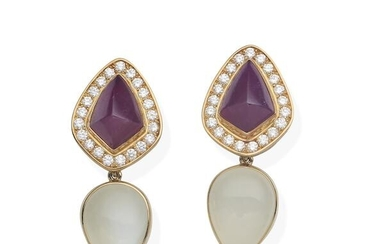 A pair of ruby and diamond earrings, together with a pair of moonstone pendants and a pair of tourmaline pendants