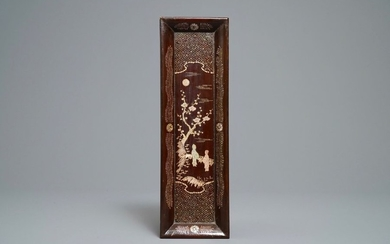 A rectangular Chinese mother of pearl inlaid lacquered...