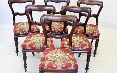 A set of six Victorian mahogany buckle back dining chairs, t...
