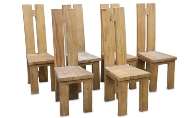 A set of six late 20th Century teak dining chairs