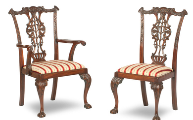 A set of ten 18th century style mahogany dining chairs, in the manner of Chippendale, 20th century