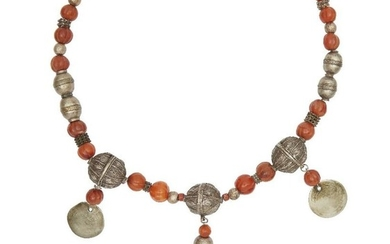 A silver and carnelian bead necklace, Yemen,...