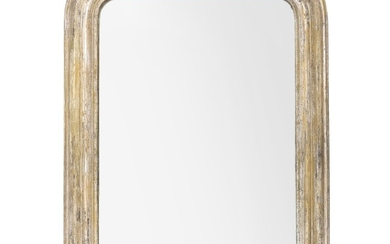 A silvered French mirror. Late 19th century. H. 87 cm. W. 64 cm.