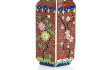 A small silver-wired cloisonné-enamel vase